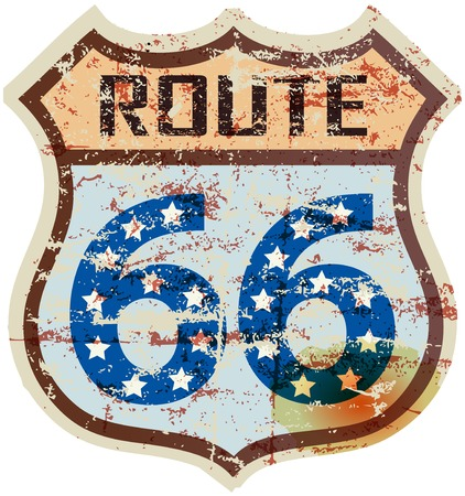 sixty six: retro route sixty six road sign, grungy style