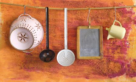 kitchen utensils: vintage kitchen utensils and black board for receipts, free copy space