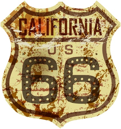 vintage sign: vintage route 66 road sign,California,grungy vector illustration