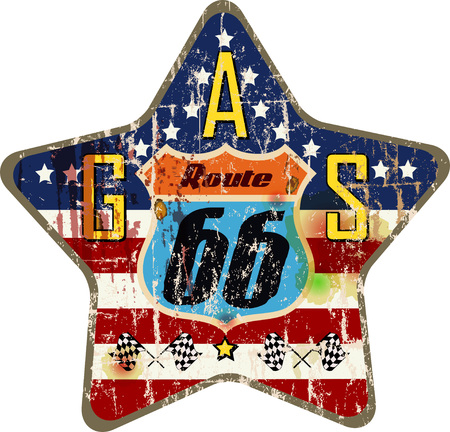 grungy retro route 66 gas station sign, vector illustration