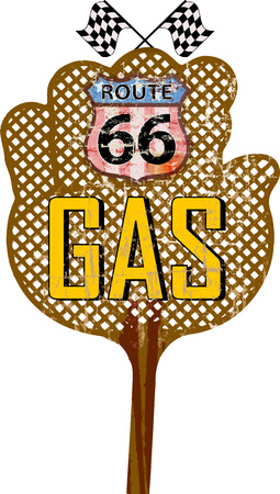 sixty six: retro route sixty six gas staion sign, vector