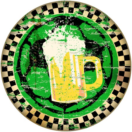 faded: football and beer sign,vector