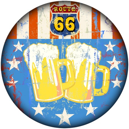 sixty six: retro route sixty six beer bar sign, vector illustration