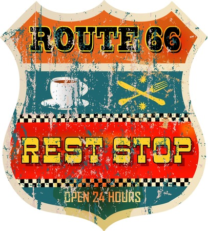 66: route 66 rest stop sign, retro style, vector illustration
