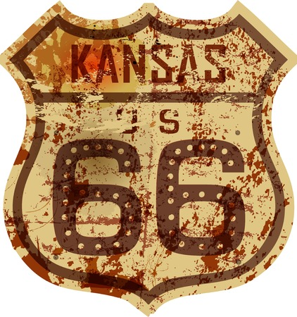 old fashioned: vintage route 66 road sign,Kansas,grungy vector illustration