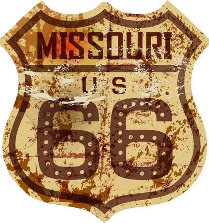 rusty: vintage route 66 road sign,Missouri,grungy vector illustration Illustration