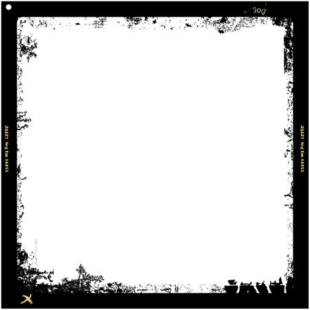 format: Grungy medium format film frame, with free copy space, vector illustration