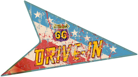 battered: battered route 66 diner sign, retro style, vector illustration