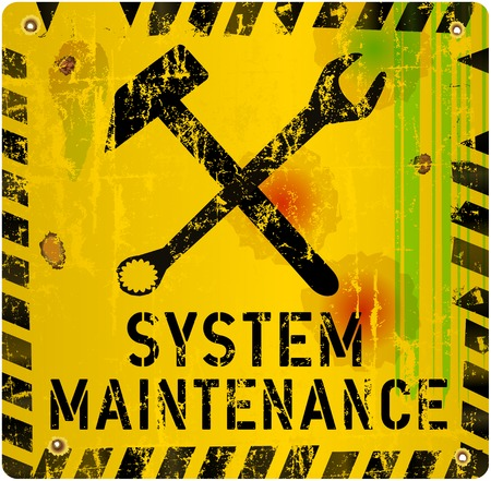 recondition: grungy website maintenance sign, vector illustration