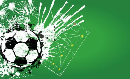 Grungy Soccer o. Voetbal ontwerp sjabloon, gratis exemplaar ruimte, vector