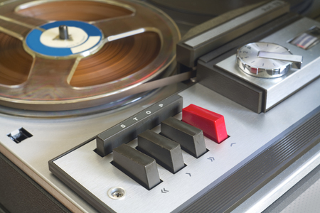 tape recorder: retro reel to reel tape recorder, close up Stock Photo