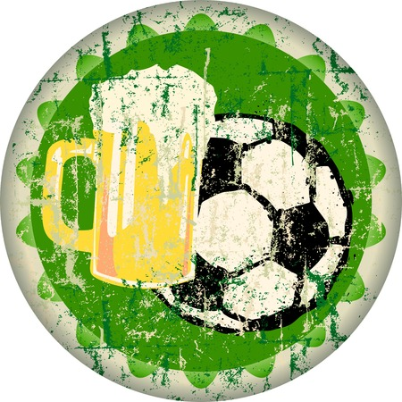 soccer and beer, retro advertising sign, vector