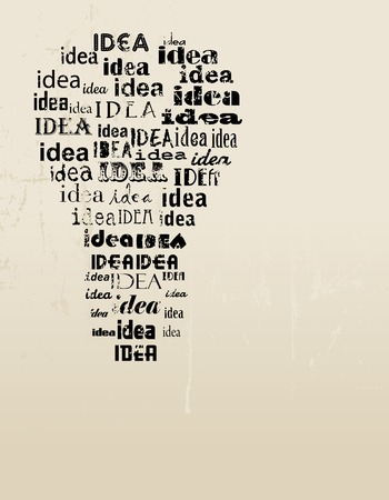creativity and innovation: Light bulb idea concept template, grungy, good copy space. Vector illustration. Illustration