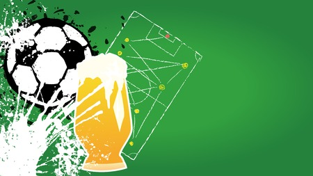 tactic: Grungy Soccer o. Football and beer design template, copy space, vector Illustration