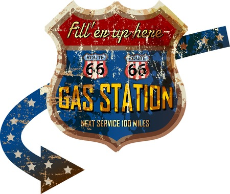 routes: grungy retro route 66 gas station sign, vector illustration