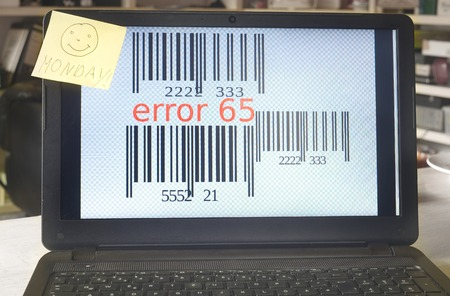 error message: error message on a laptop with monday smile