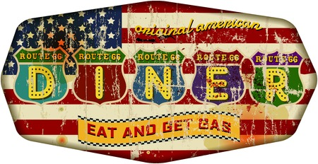 route 66: Route 66 Diner sign, retro style, vector illustration Illustration