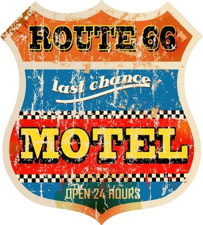 retro route 66 Motel sign,vacation, vector,fictional artwork