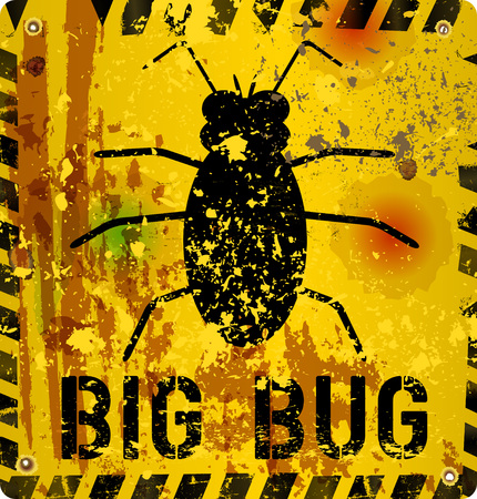 computer bug: computer bug alert sign, vector illustration