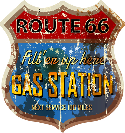 route 66: grungy retro route 66 gas station sign, vector illustration