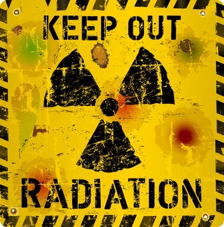 fukushima: Grungy Radiation warning sign, vector illustration