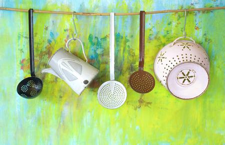 vintage kitchen: old enamel kitchen utensils, good copy space