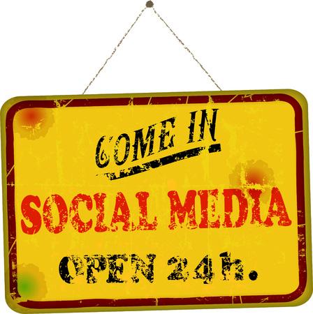 wikis: social media sign, retro sign website