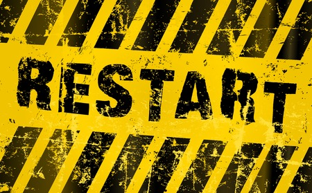 hazard stripes: restart sign. Grungy vector