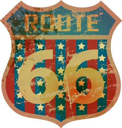 retro route 66 road sign, grungy style Illustration