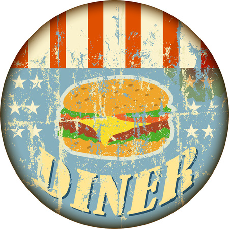 battered route sixty six diner sign, retro style, vector illustration