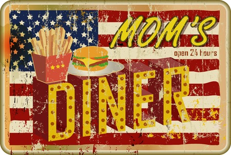 66: route 66  diner sign, retro style, vector illustration