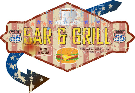 battered route sixty six bar and grill diner sign, retro style, vector illustration