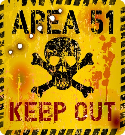 grounds: area 51 sign, restricted area sign, website icon. Vector Illustration