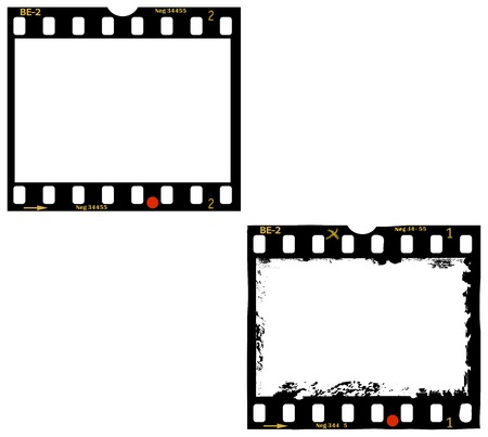 35 mm: frames of film, 35 mm photo frames, one clean, one grungy