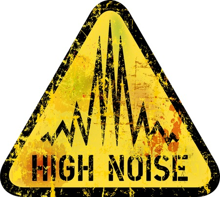 noise warning sign, grungy style, vector illustration Vetores