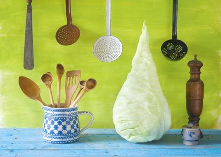 Sweetheart Cavolo E Vecchi Utensili Da Cucina Foto Royalty Free ...