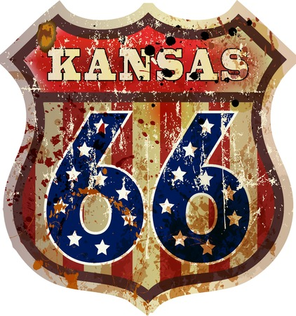 route 66 road sign,Kansas, retro style, vector