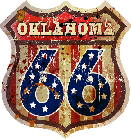 route 66 road sign, Oklahoma, retro style, vector Illustration
