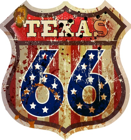 Route 66 sign,Texas, retro style, vector Illustration