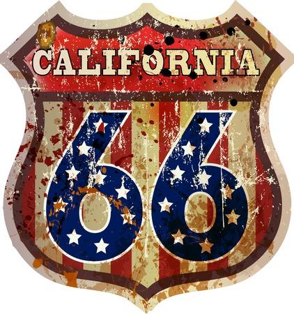 ルート 66 道路標識、カリフォルニア、レトロなスタイル、ベクトル  イラスト・ベクター素材