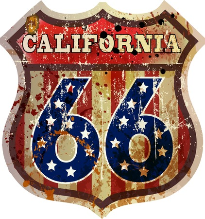 route 66 road sign, California, retro style, vector 向量圖像