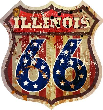 route 66 sign,Illinois, retro style, vector