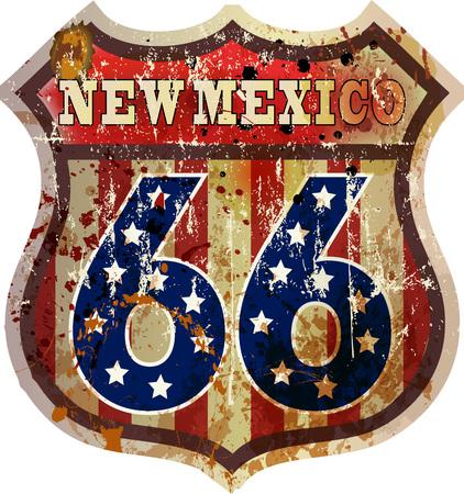 mew: Route 66 sign,Mew Mexico, retro style, vector