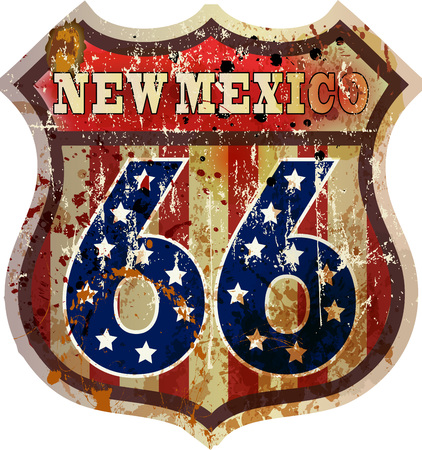 Route 66 sign,Mew Mexico, retro style, vector