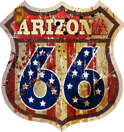 Route 66 sign, Arizona, retro style, vector Illustration