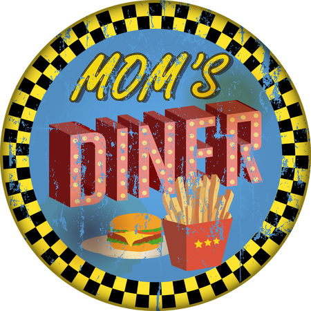 old grungy diner sign, retro style, vector illustration