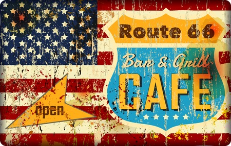 route cafe sign, stars and stripes, retro style, vector illustration, artwork fictional