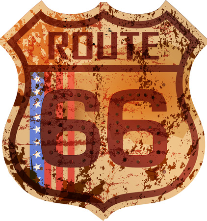 route 66: vintage route 66 road sign, retro style, grungy vector illustration