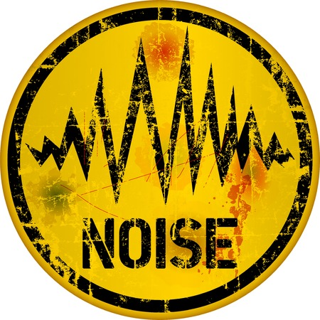 noise warning sign, grungy style, vector illustration