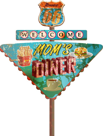 grungy route 66 diner sign, retro style, vector illustration